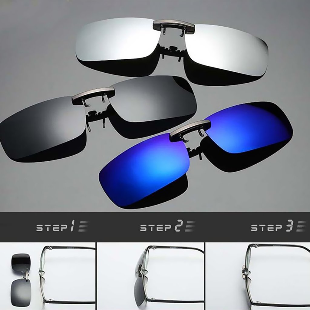 Prettyia 3x Clip On Flip Up Sunglasses UV400 Myopia Lens for Driving Fishing