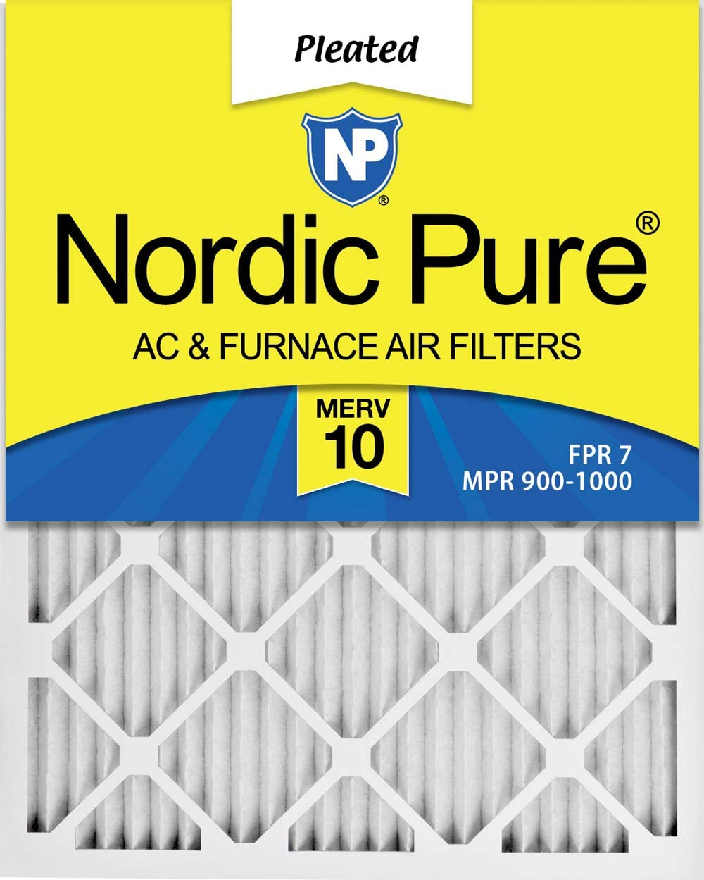 Nordic Pure 16x25x1 MERV 11 Pleated AC Furnace Air Filters 4 Pack