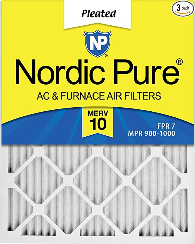 Nordic Pure 10x20x1 MPR 1000 Pleated Micro Allergen Replacement AC Furnace Air Filters 3 Pack
