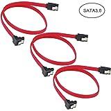 ELUTENG SATA ケーブル L型 50cm [3点セット] 抜け落ち防止 ラッチ付 2.5 / 3.5インチ 内蔵ハードディスク対応 シリアルATA 7PIN 0.5m SATA 3.0 / SATA 2.0 コネクタ SATA CABLE HDD S-ATA延長 シリアルATA3