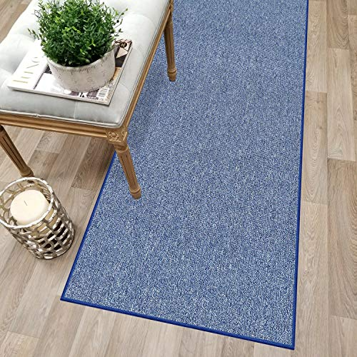 Custom Size Blue Solid Plain Rubber Backed Non-Slip Hallway Stair Runner Rug Carpet 22 inch Wide Choose Your Length 22in X 10ft ()