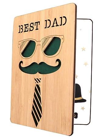 Amazon.com: Tarjeta de felicitación de madera de bambú con ...