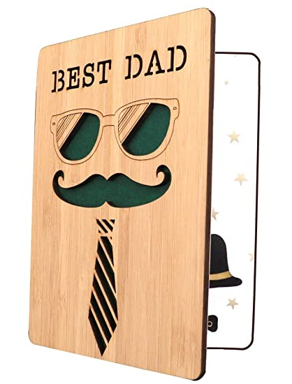 Happy Fathers Day CardBest Dad CardDad Birthday CardReal Bamboo Wooden