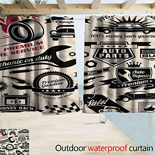 MaryMunger Outdoor Waterproof Curtains Retro Car Repair Shop Logos Darkening Thermal Insulated Blackout W55x72L Inches