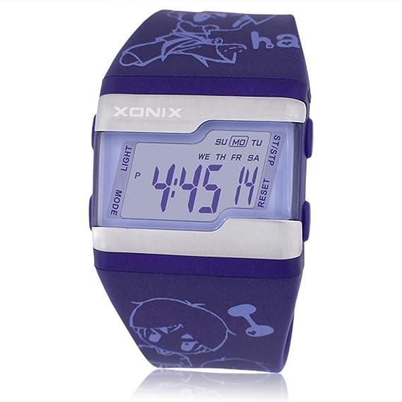Cara cuadrada grande jalea reloj de los niños,Electrónica digital de múltiples funciones Led 100