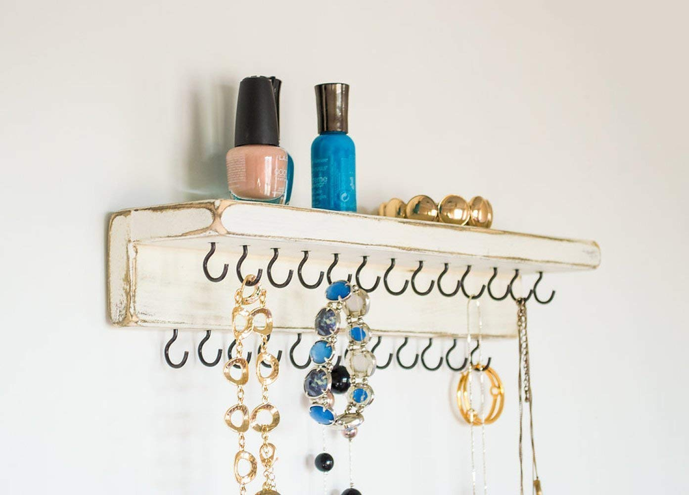 Jewelry Organizer by Out Back Craft Shack: Wall Necklace Holder with Shelf & 25 hooks; Rustic Antique White