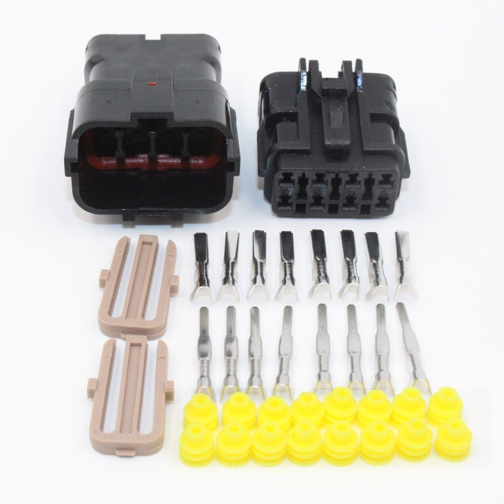 TinFmoon 3 Set 8 Pin Way Black Car Auto Waterproof Electrical Wire Connector Plug 1.8mm Series Terminals