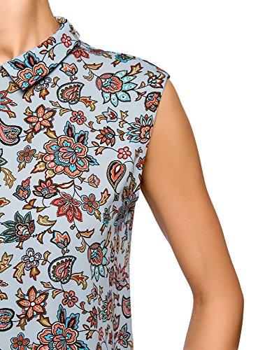 oodji Fluide Bleu Top en Basique 7043f Ultra Femme Tissu gqwTHF