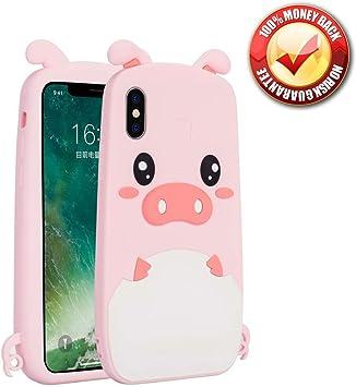 Estuche para iPhone X/iPhone XS, 3D Lindo Dibujo Animado Suave Silicona Rosa Unicornio Gato Funda De Silicona Cubierta Trasera Goma Protección del Cuerpo Funda A Prueba De Golpes Funda Protectora: Amazon.es: Electrónica