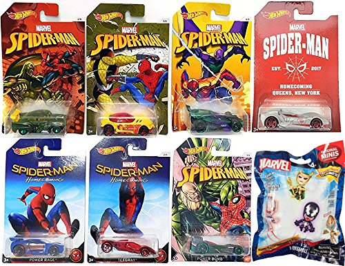 Ghost Rider Costume Walmart (Hot Wheels Marvel Spider-Man Set Homecoming Movie Exclusive set Collectible 7 car Queens NY Chase & Marvel Villains Series 1 Original Minis Bobble Head Figure Blind Bag)