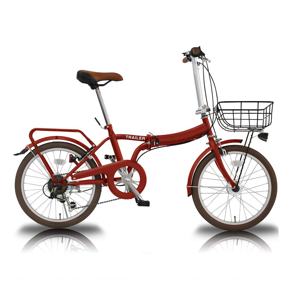 TRAILER(トレイラー) 20インチ 折りたたみ 自転車 6段変速 カゴ カギ ライト TR-F001 B073ZYH94Fレッド