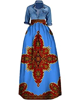 e215d615aa388b Liyuandian Womens African Print Dresses Dashiki Empire Waist Dress Turn  Down Collar Tops
