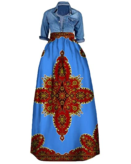 8200fc4ed964e Liyuandian Womens African Print Dresses Dashiki Empire Waist Dress Turn  Down Collar Tops