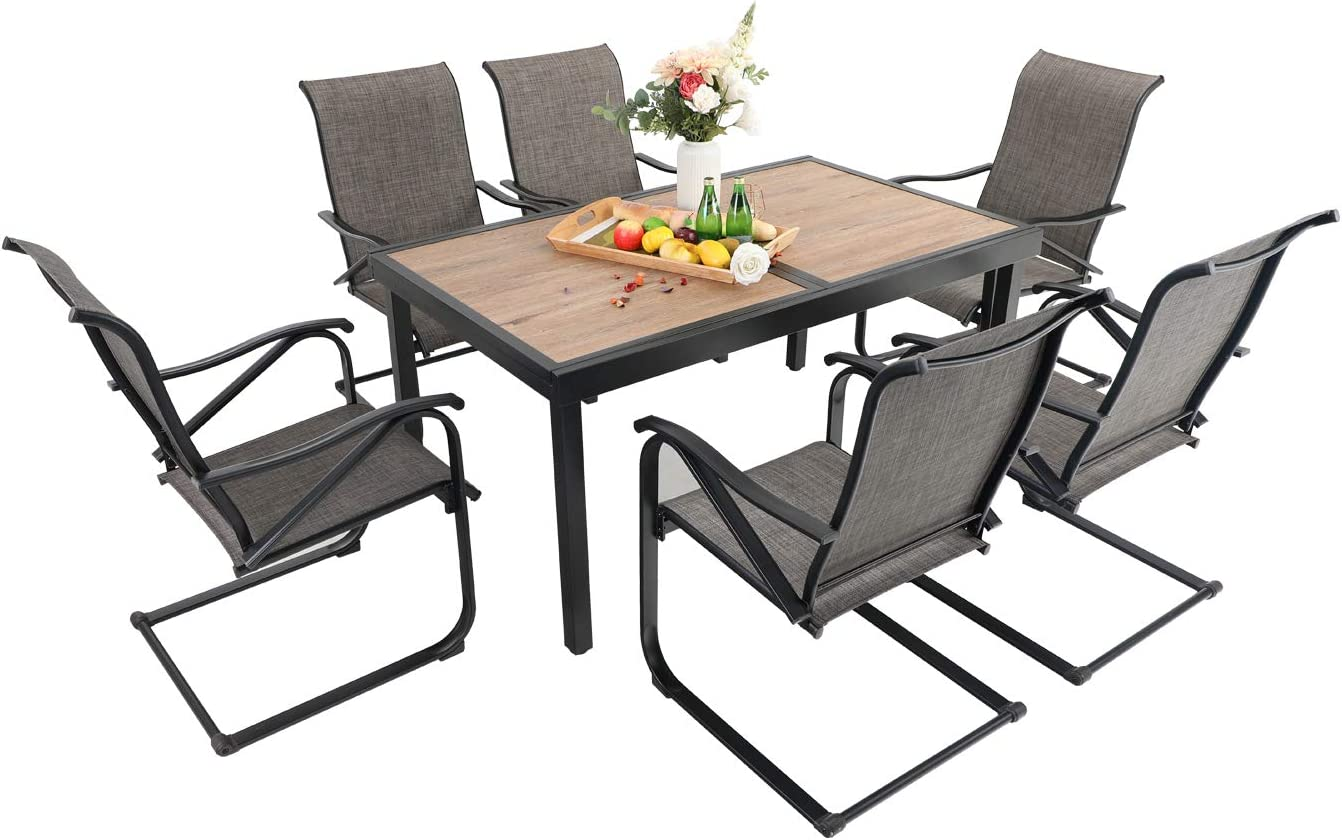 Sophia & William Patio Dining Set 7 Pieces Outdoor Metal Furniture Set, 6 x C Spring Motion Chairs with 1 Expandable 6-8 Person Wood Like Table for Lawn Garden