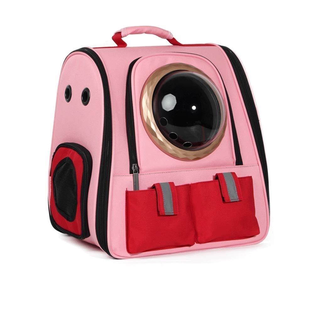 KKA ペットキャリア、猫犬子犬旅行ハイキングキャンプペットキャリアバックパック、スペースカプセルバブルデザイン、猫と小型犬用の防水ソフトハンドバッグバックパック色 ピンク