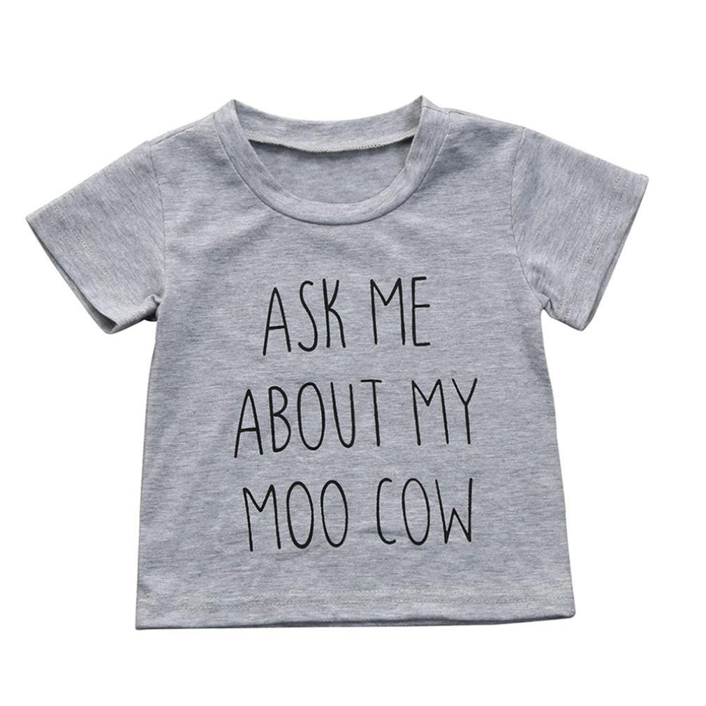 Webla Toddler Kids Baby Boys Clothes Short Sleeve Letter Print Ask Me About My Moo Cow Print Tops T-Shirt for 1-5 Years