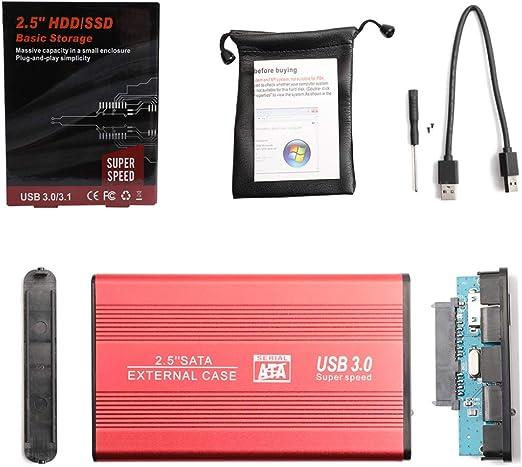 Alician EXFATおよびWINシステム用の2.5インチHDD 1TB / 2TB USB 3.0 SATA III HD外付けハードドライブのサポート 赤 1TB