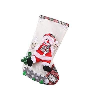 baskuwish Christmas Decor Calcetines de Navidad clásicos, Super Bonitos Calcetines Colgantes en árbol de Navidad, decoración para el hogar, Restaurante, ...