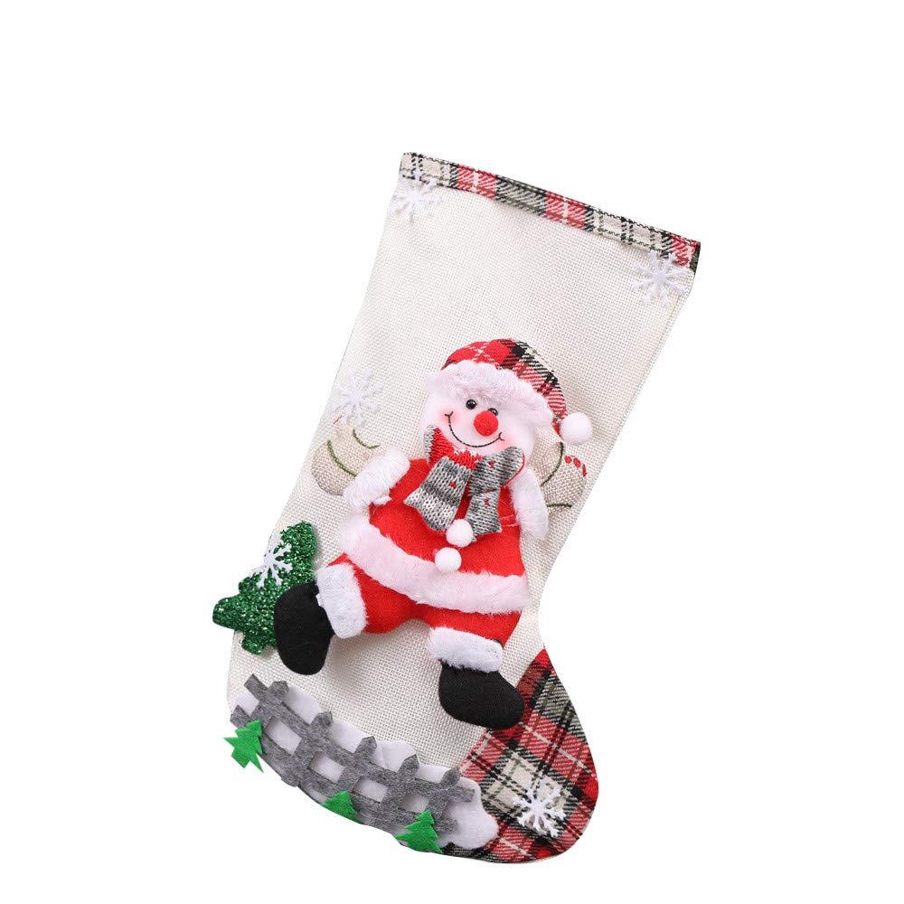 Joopee Christmas Tree Hanging Decor Linen Stockings Santa Print Sock Pendant Candy Gift Bag(Beige)