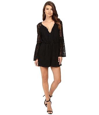 056cebfd9e8a Amazon.com  Adelyn Rae Women s Woven Lace Romper Black Jumpsuit ...