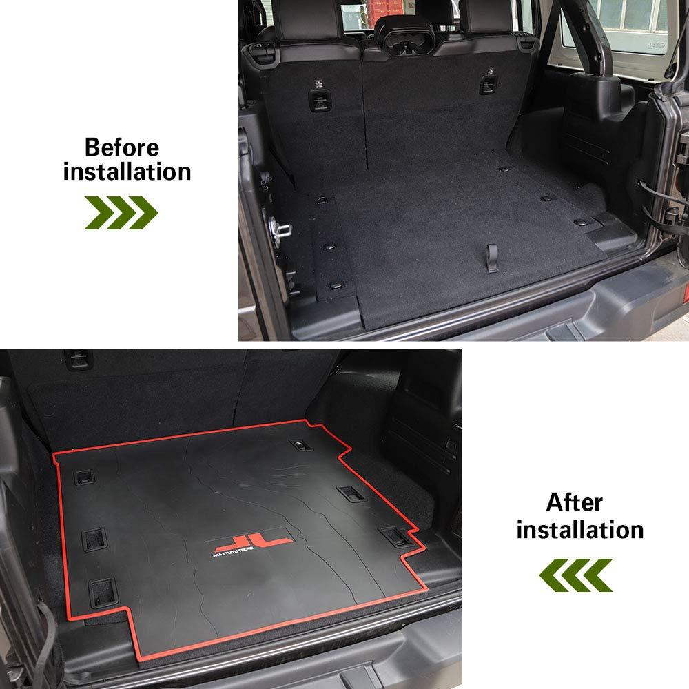Heavy Duty Rubber All Weather Waterproof Pet Trunk Mats Car Boot Pad Carpet Car Trunk Cargo Liner Floor Mat Fit for Jeep Wrangler JL 2018 2019 4 Doors JL/Cargo/Liner Trunk/Mats