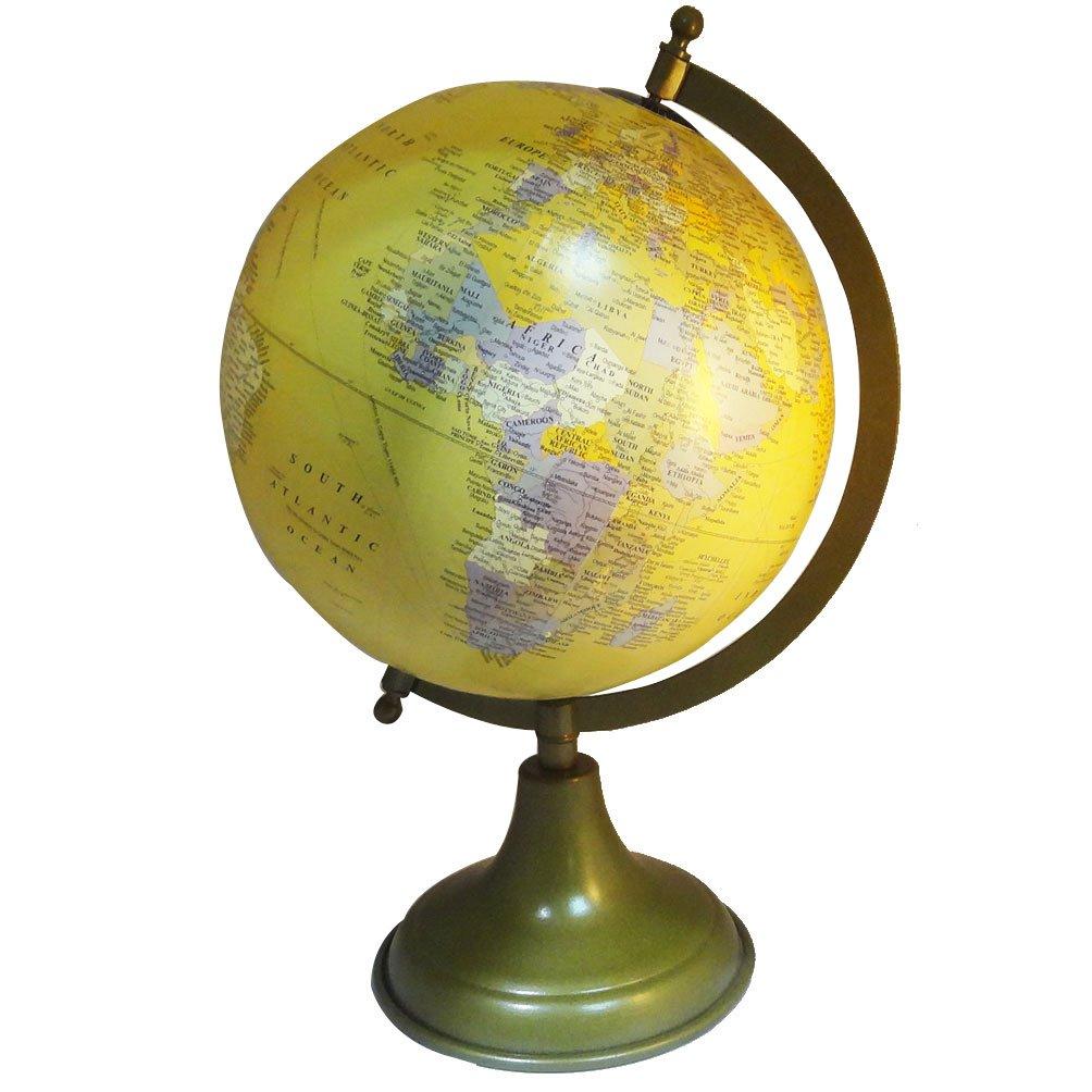 Bola de plástico decorativa hecha con a mano con hecha mapa del mundo de 20 cm, para decoración del hogar o de pie, diseño envejecido, 34,3 cm de alto 5b78b3