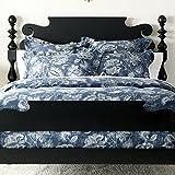 Ethan Allen Monikka Blue Floral Duvet Cover, Full/Queen