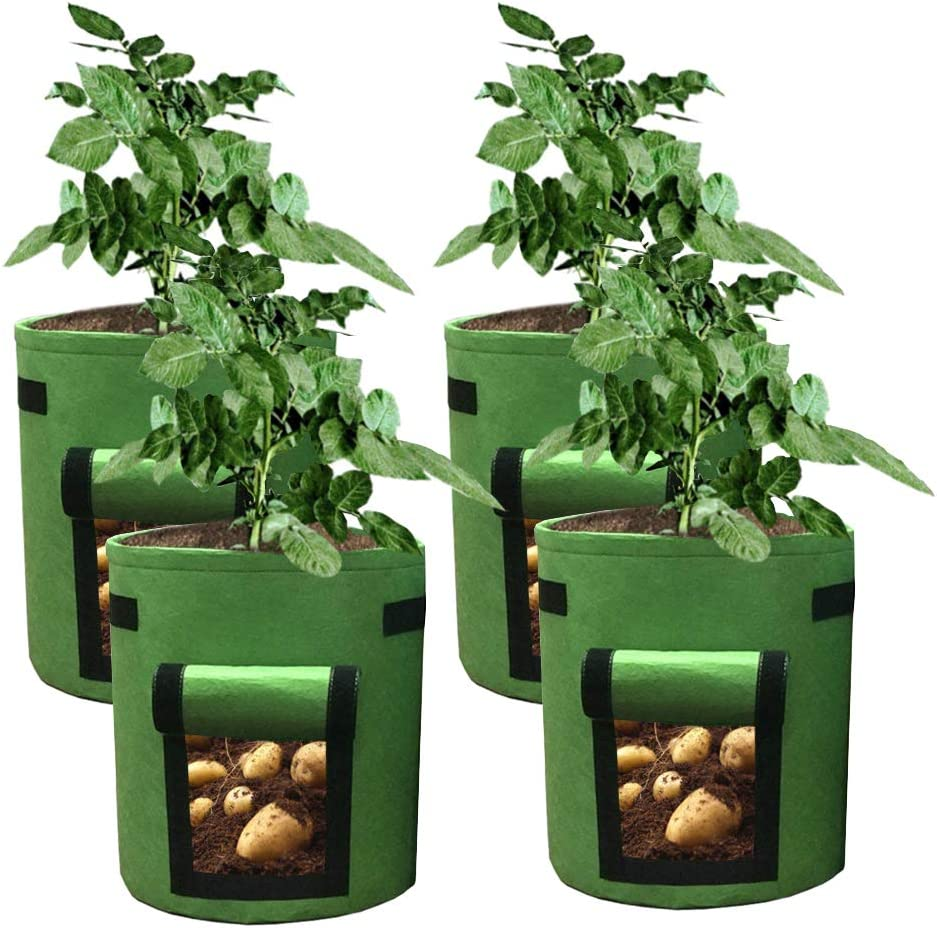 HAHOME 4 Pack 7 Gallon Potato Grow Bag, Garden Planting Bags,Vegetables Planter Bags, Non-Woven Aeration Fabric Pot Growing Bags with Handle and Access Flap, Green