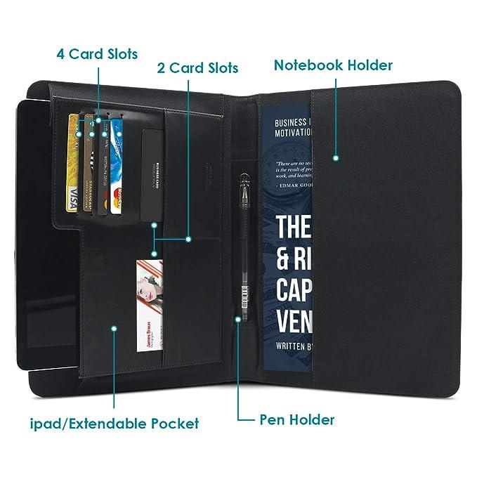 Carpeta Cremallera,Portafolios de Conferencia Portafolio de Cuero Genuino Portafolios Profesional A5 Para Viajes de Negocios Reuniones Entrevistas Para iPad ...