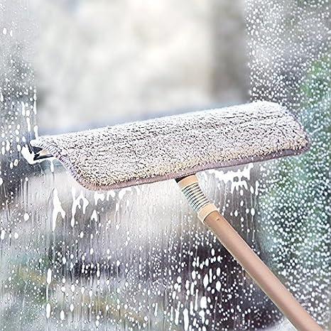 Elvoes Limpiacristales extensible de microfibra esponja limpiacristales limpiacristales, limpiaparabrisas telescópico con varilla, herramientas de limpieza ...