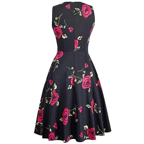 ... Falda de Encaje sin Mangas Vestido de Coctel Vestido de Costura de Flores Vestido de Fiesta Vestido de Mujer Estampado de invitada de Boda: Amazon.es: ...