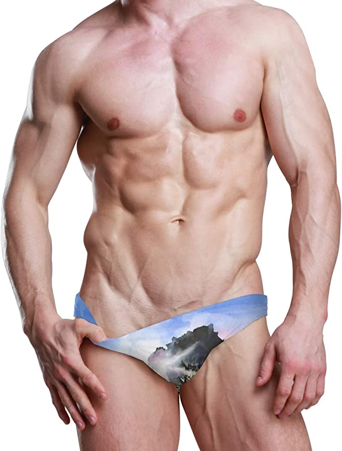 Mens Swim Briefs Trunk US Canada Flag Athletic Swimsuit Beach Shorts Board Triangle Bikini Swimwear