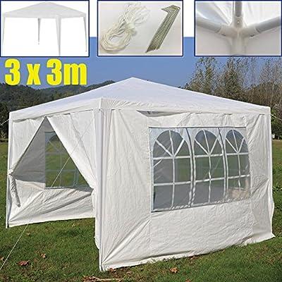 Carpa de jardín con 4 Lados extraíbles y 3 Ventanas de Polietileno autopadre, Resistente al Agua, 3 x 3 m, Color Blanco: Amazon.es: Jardín