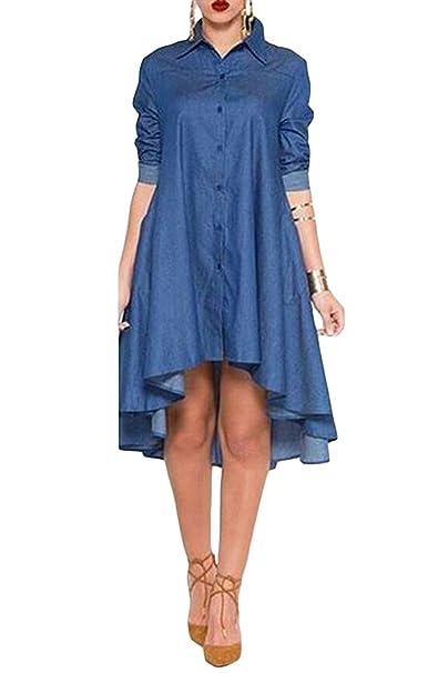 3333ddf25e Amazon.com  Womens Long Sleeve A-line Denim Shirt Dress High Low Hem Mini  Dress with Pocket  Clothing