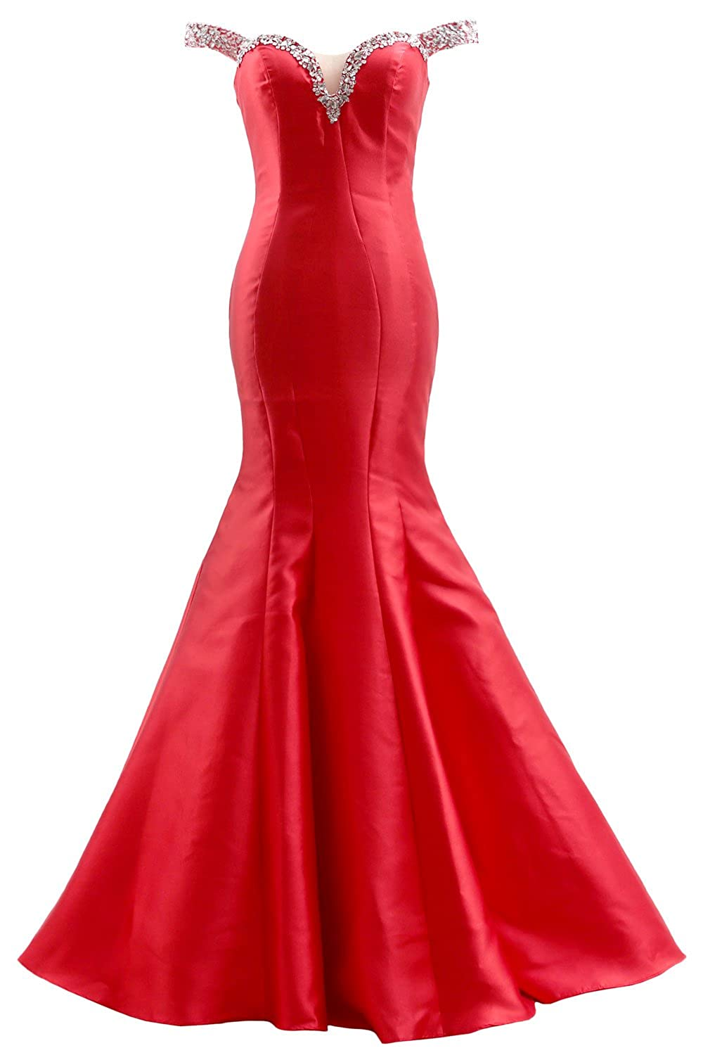 257a6ac9e807 This glamorous evening gown features off shoulder straps and open back  design, embellished with beads on the neckline. Skirt hugs your natural  curves then ...