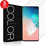 G-Color Screen Protector for Samsung Galaxy S10, 3-Pack [Case Friendly] Wet Applied Flexible TPU Film [Not Tempered Glass] HD Clear Bubble Free Screen Protector for Samsung S10