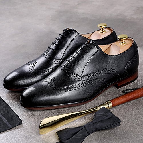 Sposa Uomo Scarpe Pelle da Oxford Punta Black Scarpe Business Casual Stringate in A da Scarpe Brogue PqTTURaw