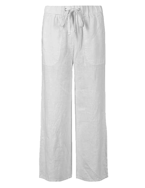 buy cheap favorable price stable quality Ladies Ex M&S Cropped Linen Elasticated Drawstring Waist Trousers