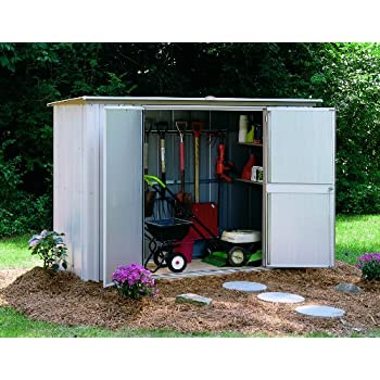 Attirant Arrow Pent Roof Garden Shed, Eggshell/Taupe, 8 X 3 Ft.