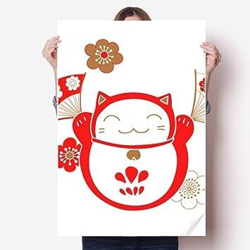 DIYthinker Lucky Fortune Cat Flower Fan Japan Vinyl Wall Sticker Poster  Mural Wallpaper Room Decal 80X55cm