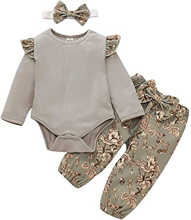 0-2 Years,SO-buts Newborn Infant Baby Girls Autumn Winter Ruffle Solid Color Long Sleeve Romper Floral Pants Outfits Pajamas Sleepwear Casual Set