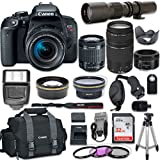 Canon EOS Rebel T7i DSLR Camera with Canon EF-S 18-55mm f/4-5.6 IS STM Lens + Canon EF 75-300mm f/4-5.6 III Lens + Canon EF 50mm f/1.8 STM Lens + 500mm f/8.0 Telephoto Lens + New Accessories Bundle
