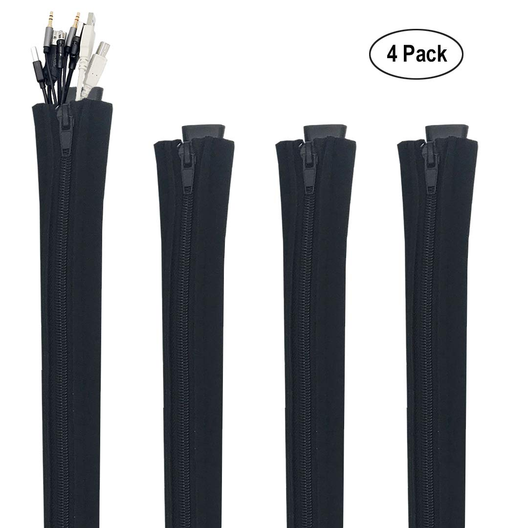Cable Management Sleeves, Cord Protector, Flexible Neoprene Wire Organizer for Computer/TV / Entertainment, Office Home Theater Adjustable Wire Hider, Zipper & Buckle, 19.5-Inch, 4 Pack, Black