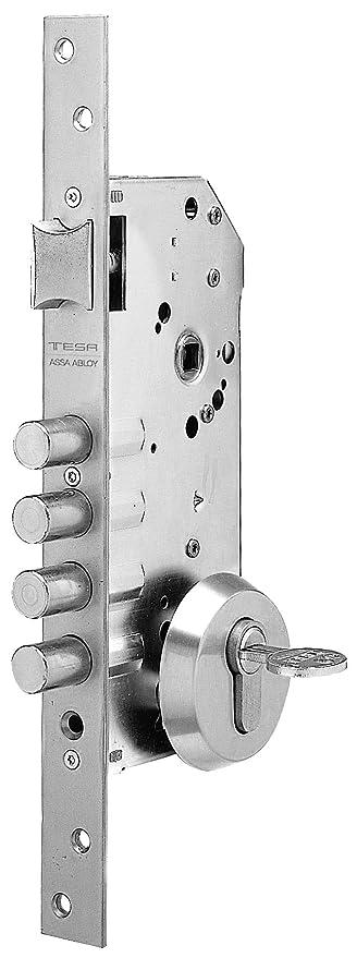 Tesa Assa Abloy R101B566C Cerradura Monopunto de Seguridad para Puertas de Madera Latonado Cil. 30x30mm