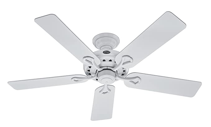 Hunter 20516 savoy 52 inch 5 blade ceiling fan white with white hunter 20516 savoy 52 inch 5 blade ceiling fan white with white aloadofball Image collections