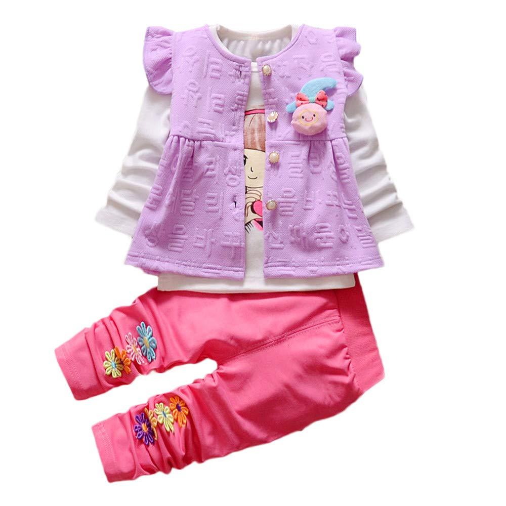 ❤ 3pcs Completini ❤ Neonata Fumetto Stampa T-Shirt Camicia Cime + Volant Gilet + Fiore Stampa Pantaloni Bambina Vestiti