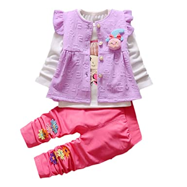 Newborn Baby Clothes Boy,Baby Kids Girls Clothes Long Sleeve Flower Vest+Shirt+