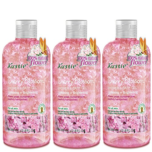 Bath Blossom Natural (Cherry Blossom Flower Petals Body Wash - Shower and Bath Gel - Handpicked Natural Flower Petals - Essential Oil - Lightening and Brightening - Paraben Free - For All Skin (3 x 380ml /12.8 Oz))