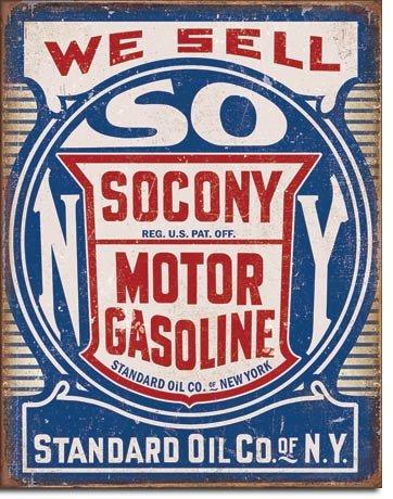 Socony Gasoline Tin Sign 13 x 16in Gasoline Tin