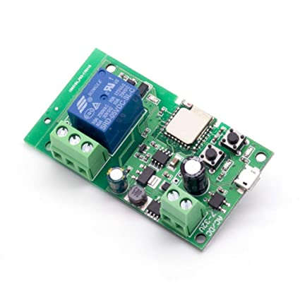 EACHEN WiFi Wireless Inching Relay Momentary/Self-Locking Switch Module DIY  Smart Garage Door DC 5-32V AC90-260V Ewelink App Compatible with Alexa